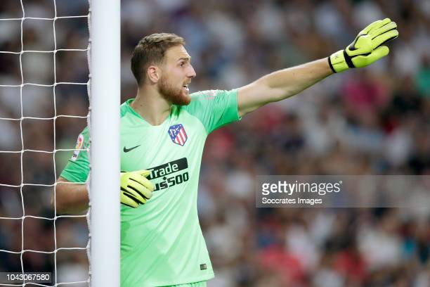 Jan Oblak of Atletico Madrid during the La Liga Santander match between Real Madrid v Atletico Madrid at the Santiago Bernabeu on September 29 2018...