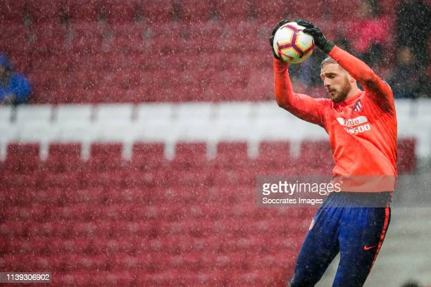 Jan Oblak of Atletico Madrid during the La Liga Santander match between Atletico Madrid v Valencia at the Estadio Wanda Metropolitano on April 24...