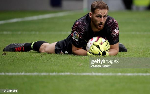 Jan Oblak of Atletico Madrid in action during La Liga match between Atletico Madrid and Huesca at Wanda Metropolitano on September 25 2018 in Madrid...