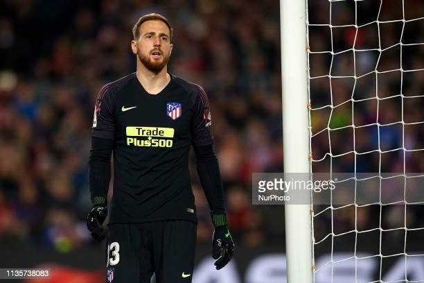 Jan Oblak of Atletico Madrid in action during the La Liga match between FC Barcelona and Club Atletico de Madrid at Camp Nou on April 6 2019 in...