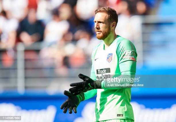 Jan Oblak of Atletico Madrid in action during the La Liga match between SD Eibar and Club Atletico de Madrid at Ipurua Municipal Stadium on April 20,...