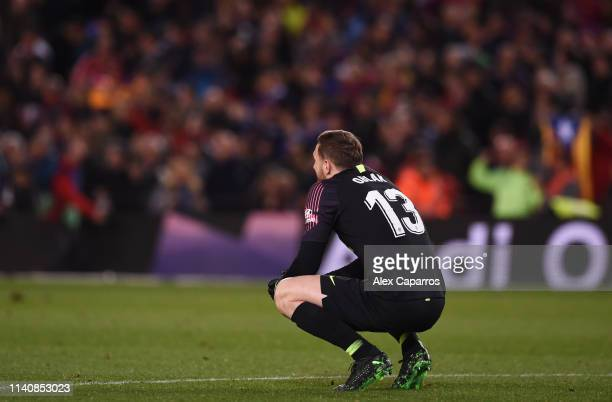 Jan Oblak of Atletico Madrid looks dejected after the La Liga match between FC Barcelona and Club Atletico de Madrid at Camp Nou on April 06 2019 in...