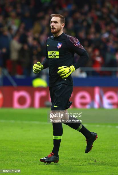 Jan Oblak of Atletico Madrid looks on during the Group A match of the UEFA Champions League between Club Atletico de Madrid and Borussia Dortmund at...