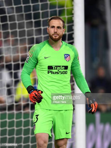 Jan Oblak of Atletico Madrid looks on during the UEFA Champions League Round of 16 Second Leg match between Juventus and Club de Atletico Madrid at...