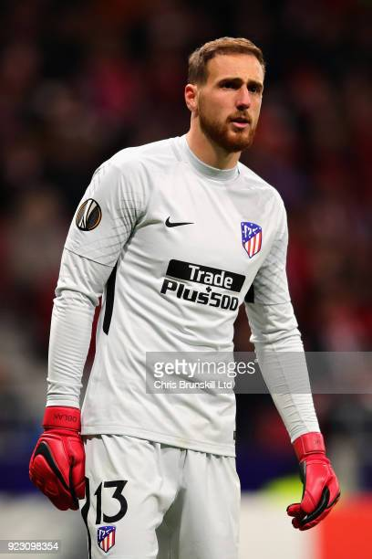 Jan Oblak of Atletico Madrid looks on during UEFA Europa League Round of 32 match between Atletico Madrid and FC Copenhagen at the Wanda...