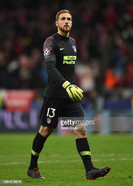 Jan Oblak of Atletico Madrid looks on following his side's victory in the Group A match of the UEFA Champions League between Club Atletico de Madrid...