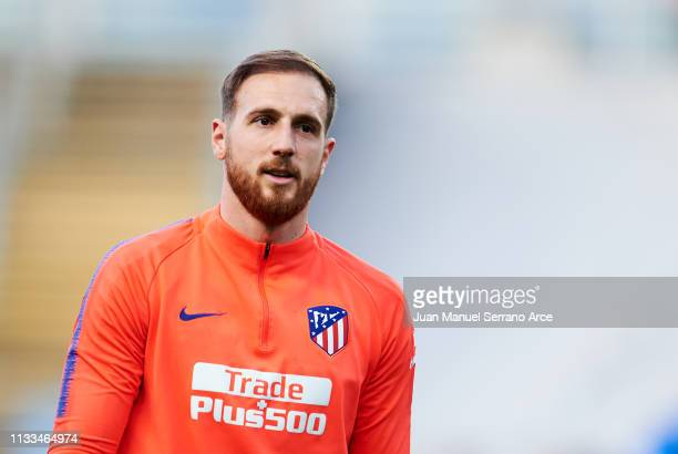 Jan Oblak of Atletico Madrid looks on prior to the start the La Liga match between Real Sociedad and Club Atletico de Madrid at Estadio Anoeta on...