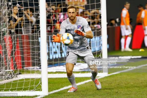 Jan Oblak of Atletico Madrid makes a save against Real Madrid during the International Champions Cup match at MetLife Stadium on July 26 2019 in East...