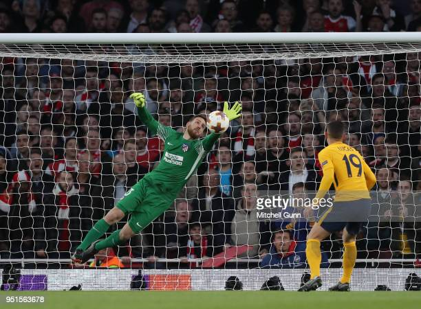 Jan Oblak of Atletico Madrid makes a save during the Europa League semi final leg one match between Arsenal and Atletico Madrid at The Emirates...