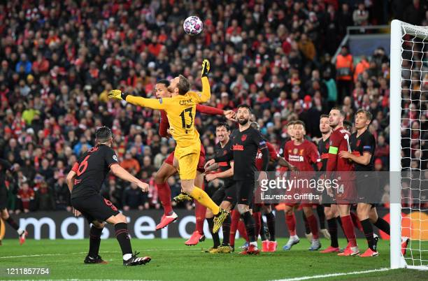 Jan Oblak of Atletico Madrid makes a save during the UEFA Champions League round of 16 second leg match between Liverpool FC and Atletico Madrid at...
