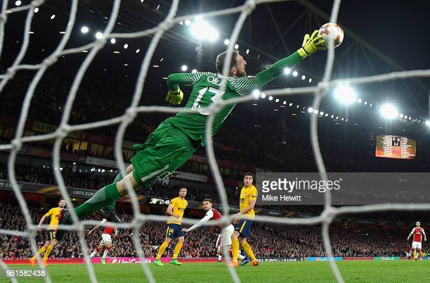 Jan Oblak of Atletico Madrid makes a save during the UEFA Europa League Semi Final leg one match between Arsenal FC and Atletico Madrid at Emirates...