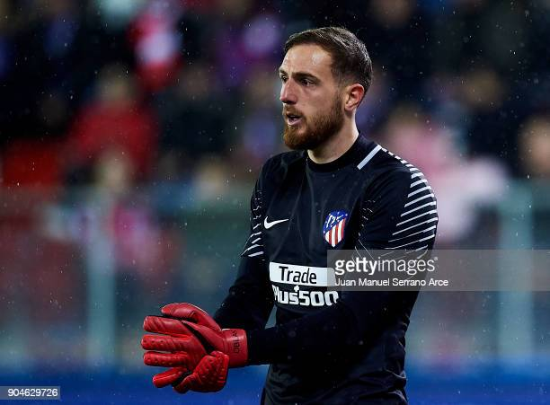 Jan Oblak of Atletico Madrid reacts during the La Liga match between SD Eibar and Atletico Madrid at Ipurua Municipal Stadium on January 13 2018 in...