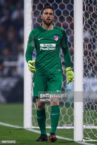 Jan Oblak of Atletico Madrid reacts during the UEFA Europa League Final between Olympique de Marseille and Club Atletico de Madrid at Stade de Lyon...