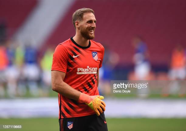 Jan Oblak of Atletico Madrid reacts during warm-up before the start of the Liga match between Club Atletico de Madrid and Real Sociedad at Wanda...