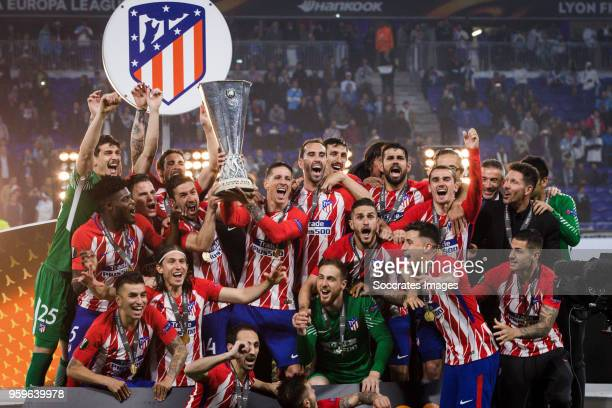 Jan Oblak of Atletico Madrid Sime Vrsaljko of Atletico Madrid Jose Maria Gimenez of Atletico Madrid Diego Godin of Atletico Madrid Lucas Hernandez of...