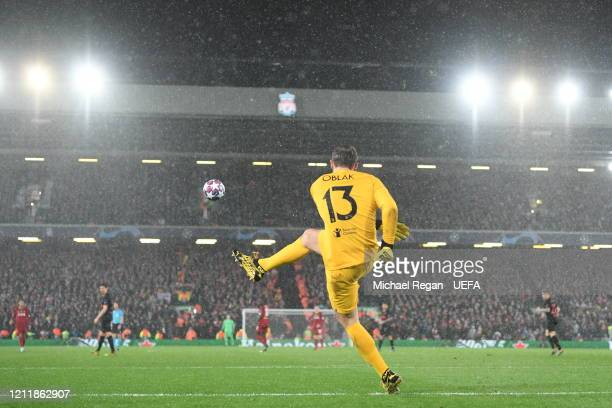 Jan Oblak of Atletico Madrid takes a goal kick during the UEFA Champions League round of 16 second leg match between Liverpool FC and Atletico Madrid...