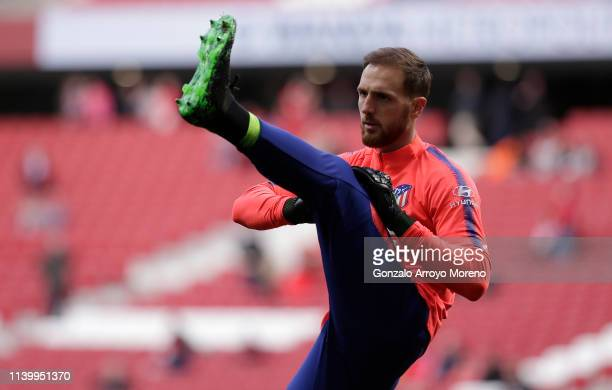 Jan Oblak of Atletico Madrid warms up prior to the La Liga match between Club Atletico de Madrid and Girona FC at Wanda Metropolitano on April 02...