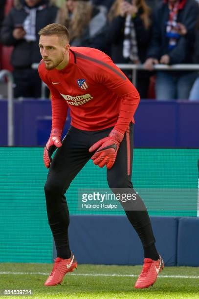 Jan Oblak of Atletico Madrid warms up prior to the match between Atletico Madrid and Real Sociedad as part of La Liga at Wanda Metropolitano Stadium...