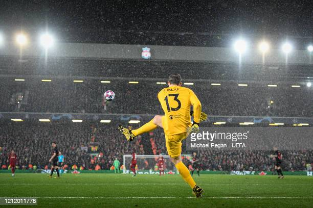 Jan Oblak of Atletico takes a goal kick during the UEFA Champions League round of 16 second leg match between Liverpool FC and Atletico Madrid at...