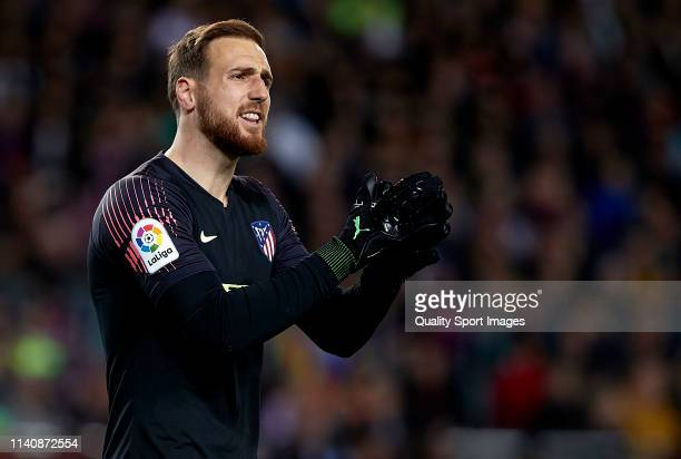 Jan Oblak of Club Atletico de Madrid during the La Liga match between FC Barcelona and Club Atletico de Madrid at Camp Nou on April 06 2019 in...