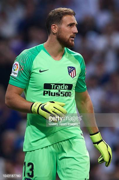 Jan Oblak of Club Atletico de Madrid looks on during the La Liga match between Real Madrid CF and Club Atletico de Madrid at Estadio Santiago...