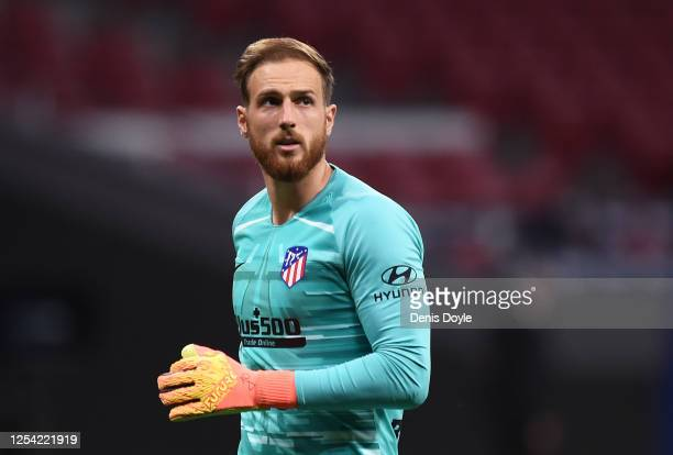 Jan Oblak of Club Atletico de Madrid looks on during the Liga match between Club Atletico de Madrid and RCD Mallorca at Wanda Metropolitano on July...