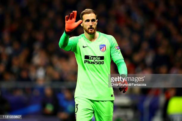 Jan Oblak of Club Atletico de Madrid looks on during the UEFA Champions League Round of 16 First Leg match between Club Atletico de Madrid and...