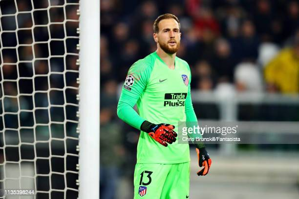 Jan Oblak of Club Atletico de Madrid looks on during the UEFA Champions League Round of 16 Second Leg match between Juventus and Club de Atletico...
