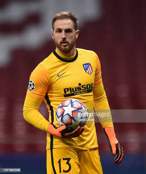 Jan Oblak of Club Atletico de Madrid looks on during the UEFA Champions League Group A stage match between Atletico Madrid and Lokomotiv Moskva at...