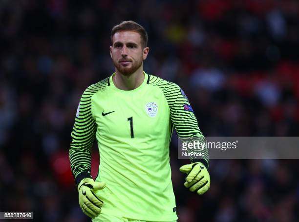 Jan Oblak of Slovenia during FIFA World Cup Qualifying European Region Group F match between England and Slovenia at Wembley stadium London 05 Oct...