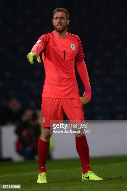 Jan Oblak of Slovenia during the FIFA 2018 World Cup Qualifier between Scotland and Slovenia at Hampden Park on March 26 2017 in Glasgow Scotland