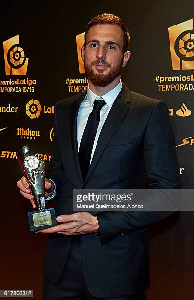 Jan Oblak poses with the Best Goalkeeper in La Liga Santander 2015/16 Trophy during the LFP Soccer Awards Gala 2016 at Palacio de Congresos on...