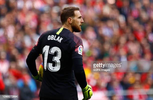 METROPOLITANO MADRID SPAIN Jan Oblak seen in action during the Spanish La Liga match between Atletico Madrid and Real Madrid at Wanda Metropolitano...