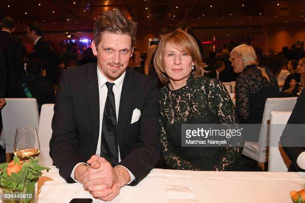 Jan Ole Gerster and Corinna Harfouch attend the opening party during the 67th Berlinale International Film Festival Berlin at Berlinale Palace on...