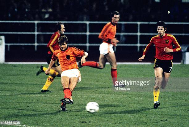 Jan Peters of The Netherlands Rene VanderEycken of Belgium during the World Cup Qualifying Match between Belgium and The Netherlands at the...