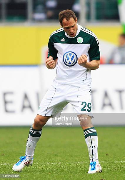 Jan Polak of Wolfsburg celebrates he scored his team's second goal during the Bundesliga match between VfL Wolfsburg and FC St. Pauli at Volkswagen...