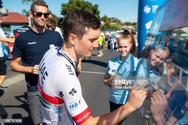 ADELAIDE AUSTRALIA JANUARY 20 Jan Polanc of Slovenia and UAE Team Emirates signing on at the start of Stage 6 from McLaren Vale to Willunga Hill of...