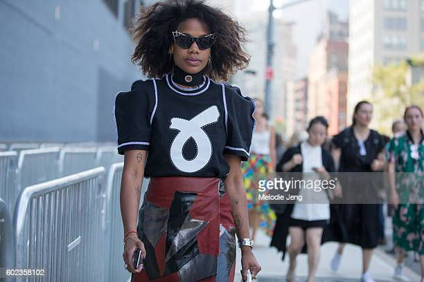 Jan Quammie wears a JW Anderson top outside the Lacoste show at Spring Studios on September 10 2016 in New York City