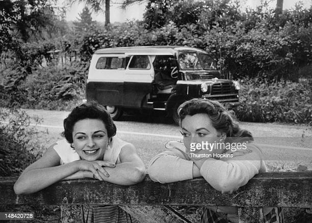 Jan Richards and her friend Marguerite Lynd during a trip into the English countryside in a hired Dormobile August 1954 Original publication Picture...