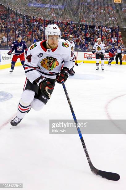Jan Rutta of the Chicago Blackhawks controls the puck during the game against the Columbus Blue Jackets on October 20 2018 at Nationwide Arena in...