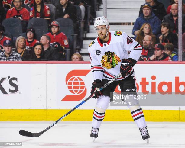 Jan Rutta of the Chicago Blackhawks in action against the Calgary Flames during an NHL game at Scotiabank Saddledome on November 3 2018 in Calgary...