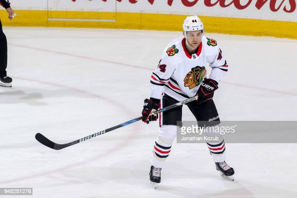Jan Rutta of the Chicago Blackhawks keeps an eye on the play during second period action against the Winnipeg Jets at the Bell MTS Place on April 7...