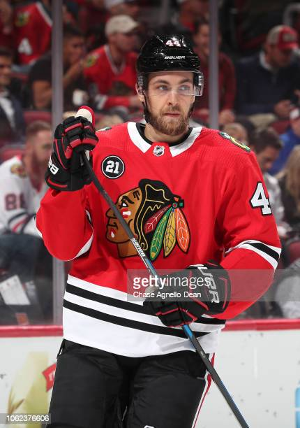 Jan Rutta of the Chicago Blackhawks looks across the ice in the first period against the New York Rangers at the United Center on October 25 2018 in...