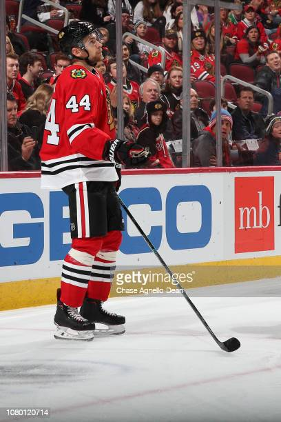 Jan Rutta of the Chicago Blackhawks looks up in the third period against the Calgary Flames at the United Center on December 2 2018 in Chicago...