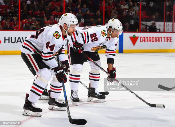 Jan Rutta of the Chicago Blackhawks prepares for a faceoff against the Ottawa Senators at Canadian Tire Centre on October 4 2018 in Ottawa Ontario...
