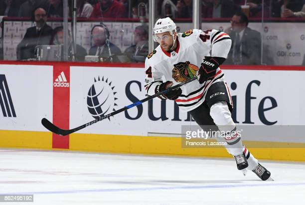 Jan Rutta of the Chicago Blackhawks skates against the Montreal Canadiens in the NHL game at the Bell Centre on October 10 2017 in Montreal Quebec...
