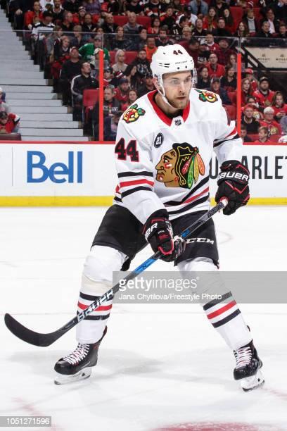 Jan Rutta of the Chicago Blackhawks skates against the Ottawa Senators at Canadian Tire Centre on October 4 2018 in Ottawa Ontario Canada