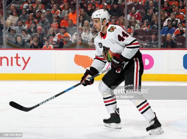 Jan Rutta of the Chicago Blackhawks skates back on defense against the Philadelphia Flyers on November 10 2018 at the Wells Fargo Center in...
