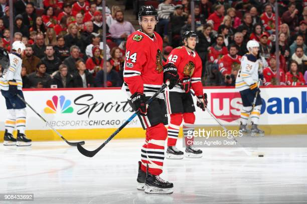 Jan Rutta of the Chicago Blackhawks stands on the ice in the first period against the Buffalo Sabres at the United Center on December 8 2017 in...