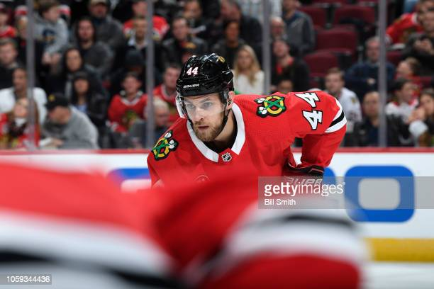 Jan Rutta of the Chicago Blackhawks waits for the faceoff in the second period against the Arizona Coyotes at the United Center on October 18 2018 in...